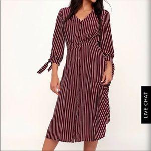 Lulu's Parisa Burgundy Stripe Button Midi Dress